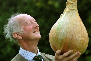 Peter Glazebrook from Newark with his heaviest onion at 14.69lb's - winner of the heaviest onion competition  at the Harrogate Autumn Flower Show.