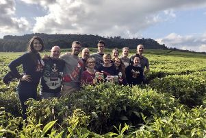Staff from Taylors of Harrogate at the Kangaita Tea Factory in Kirinyaga County in central Kenya