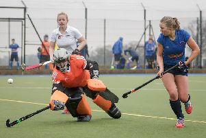 Evelyn Wright was on target as Harrogate Ladies 1s beat Bowden Ladies 2s at Ainsty Raod. Picture: Caught Light Photography