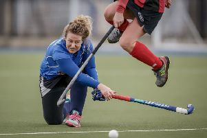 Harrogate Ladies 2s strike for goal during Saturday's defeat to Dewsbury. Picture: Caught Light Photography