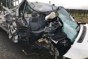 One of the cars in the smash on the A168. Photo: West Yorkshire Police