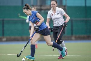 Lucy Wood was in fine form in front of goal for Harrogate Ladies 1s as they beat Didsbury then drew with Morpeth. Picture: Caught Light Photography