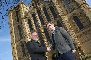 Biker Group Managing Director Ben Biker and the Dean of Ripon, the Very Reverend John Dobson, outside Ripon Cathedral.
