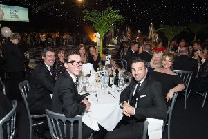 Stars from Emmerdale enjoying last years Glitter Ball for Martin House