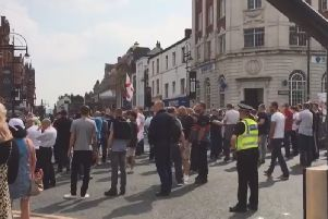 VIDEO: Road closures as 350 'free Tommy Robinson' protesters march through Leeds city centre