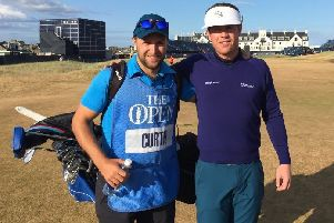 Thomas Curtis, right, with his caddie and old friend Tom Hesketh at the Open