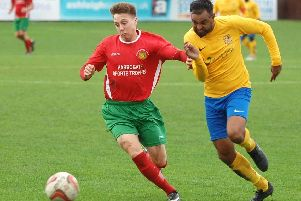 Aaron Haswell on the run during Harrogate Railway's clash with Albion Sports. Picture: Adrian Murray