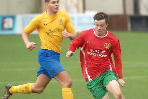 Sean Hunter's eighth goal of the campaign saw Harrogate Railway take an early lead against Thackley. Picture: Adrian Murray