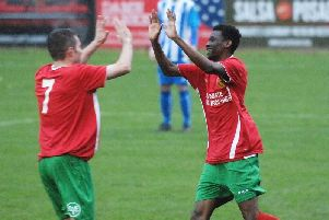 Aaron Kitao, right, is congratulated by Carl Heard after giving Harrogate Railway an early lead against Eccleshill United. Picture: Adrian Murray