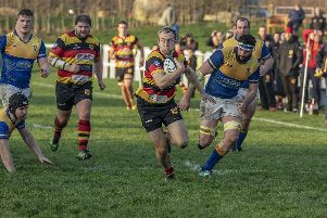 Andrew Lawson on the run during Harrogate RUFC's North Premier clash with Alnwick. Picture: Keith Hunt