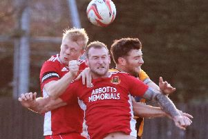 Knaresborough Town duo Will Lenehan, left, and Gregg Anderson challenge for a header at Handsworth. Picture: Craig Dinsdale