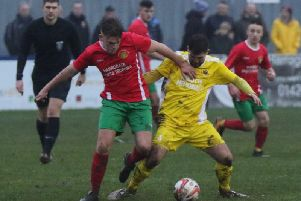 Action from Saturday's derby showdown between Harrogate Railway and Knaresborough Town. Picture: Craig Dinsdale