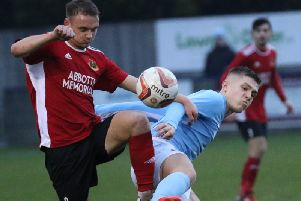 Action from Knaresborough Town's 10-goal thriller at Barton Town. Picture: Craig Dinsdale