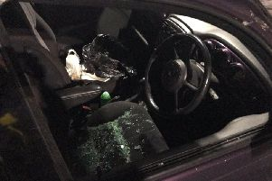 The police car broken into at the station in Harrogate