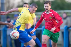 Fraser Lancasters fifth goal of the campaign helped Harrogate Railway to a 1-1 draw at Hall Road. Picture: Caught Light Photography