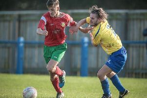 Albert Ibrahimi in action for Harrogate Railway during his previous spell at the club. Picture: Caught Light Photography