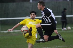 Action from Knaresborough Town's 3-1 defeat to Penistone Church. Picture: Craig Dinsdale