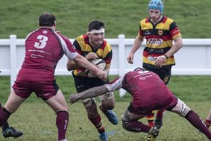 There was no way through for Jonny Coser and his Harrogate RUFC team-mates on the road at Wirral. Picture: Keith Hunt
