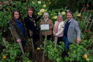 """Date: 30th October 2017. Picture James Hardisty. Harrogate was one of just seven towns in the UK to be chosen to enter this year�""""s RHS Britain in Bloom elite category of Champion of Champions, with the awards evening held in Llandudno last Friday, 27 October, and Harrogate were awarded a Gold Award on the night. Pictured (left to right) Nicky Cain, (Harrogate Spring Water), Cllr Anne Jones, Mayor of Harrogate Borough, Pam Grant, (President of Harrogate in Bloom), Lynne Mee, (Harrogate in Bloom), and James Cain, OBE, (Harrogate Spring Water)."""