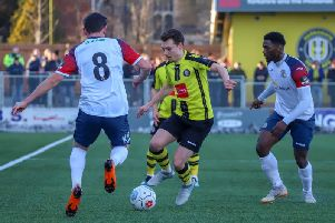 Jack Emmett gets on the ball during Saturday's FA Trophy clash with Stockport County. Picture: Matt Kirkham