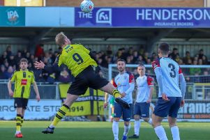 Harrogate Town were beaten 4-2 by Stockport County at the CNG Stadium. Picture: Matt Kirkham