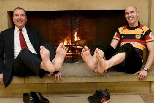 Peter Banks, managing director of Rudding Park, left, and Harrogate RUFCs Dave Doherty plan to walk across hot embers in aid of Marie Curie. Picture: Steve Riding
