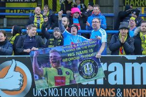 Harrogate Town's George Thomson was full of praise for the club's away support after netting a late winner at Dover Athletic. Picture: Matt Kirkham
