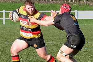Harrogate RUFC prop Connor Ward on the charge during Saturday's win over Kendal. Picture: Richard Bown