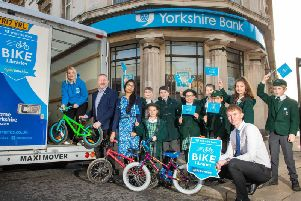 The Bike Libraries collection tour makes a stop a Yorkshire Banks Harrogate branch - with pupils from Brackenfield School, Harrogate