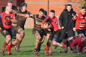 Ram Ismail on the charge during Harrogate Pythons' home win over Baildon