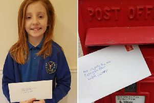 Annabelle Laidler from North Stainley posts her letter to Buckingham Palace.