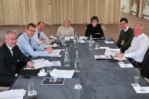 Judging in progress (l to r): Matthew Stamford of lead sponsor Verity Frearson; Prof Chris Gorse, Professor of Construction and Project Management at Leeds Beckett University; Coun Richard Cooper; Natalie Tam of the Yorkshire Agricultural Society; Harrogate Advertiser series editor Jean MacQuarrie; Ryan Harrison of Leathers the Accountants; and David Kerfoot MBE DL, chair of York, North Yorkshire and East Riding LEP.