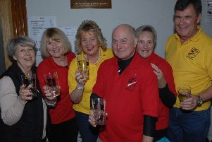 NAWN 1803242AM8 Bardsey Beer Festival. Linda Hook, Gill Swayby-Ward, Margaret Brotherwood, Martin Ward, Rosie Steniford and James Morgan. (1893242AM8)