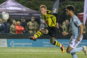 Michael Woods netted Harrogate Town's goal of the season against Braintree Town. Picture: Matt Kirkham