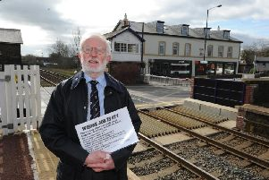 Centre of controversy - Trevor Dale, a spokesperson of Harrogate Line Supporters Group at Starbeck level crossing.