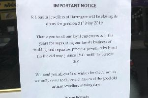 The notice than spells the end of an era for this Harrogate shop.