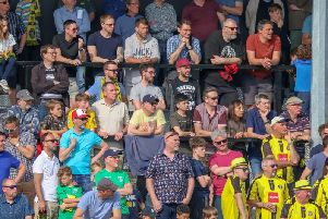 Harrogate Town fans at the CNG Stadium. Picture: Matt Kirkham