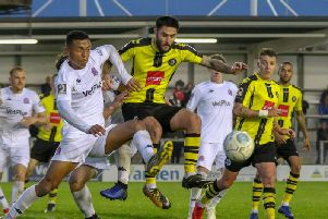 Dominic Knowles' farewell appearance in a Harrogate Town shirt came in the National League play-off eliminator loss at AFC Fylde. Picture: Matt Kirkham