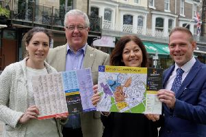 Harrogate BID chairman John Fox, second from left,  with Keren Shaw from Weetons, Sally Monkman from Boho Chic, and Nathan George from the West Park Hotel.