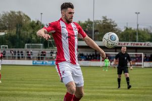 Connor Hall in action for Brackley Town. Picture: Will Grantham