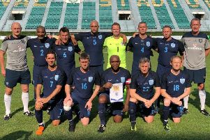 England line up before their Seniors World Cup final loss to Iran.