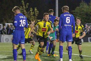 Aaron Williams celebrates after netting a late equaliser against Chesterfield. Picture: Matt Kirkham