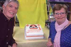 Sherburn library on celebrating their first anniversary in April 2018.