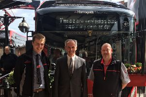 Meeting Andy and Chris of Harrogate Bus Company on Clean Air Day in front of an electric bus.