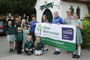 Staff and pupils at Green Hammerton CofE Primary School show their delight after receiving a 'good' report from Ofsted inspectors.