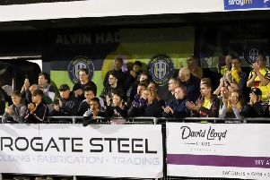 Harrogate Town fans applaud their team off the pitch at the end of Tuesday's defeat to Notts County. Picture: Matt Kirkham