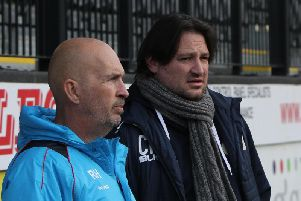 Craig Harrison (right) at the Crabble Athletic Ground today. Picture by GARETH WILLIAMS/ AHPIX