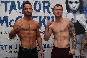 TAYLOR VS McCASKILL PROMOTION'WEIGHIN,'COURTHOUSE HOTEL, SHOREDITCH,'LONDON'PIC;LAWRENCE LUSTIG'Middleweight Contest'FELIX CASH�VS�GREG O'NEILL'WEIGH IN BEFORE THEIR FIGHT ON EDDIE HEARNS  MATCHROOM PROMOTION AT YORK HALL ON WEDNESDAY NIGHT(13-12-17)
