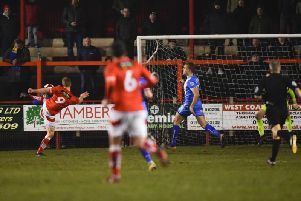 Scott Allison scores Workington's winner. Picture by STEVE FLYNN/ AH PIX