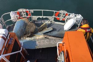Part of a boats hull aboard the Hartlepool RNLI all-weather lifeboat. RNLI/Tom Collins
